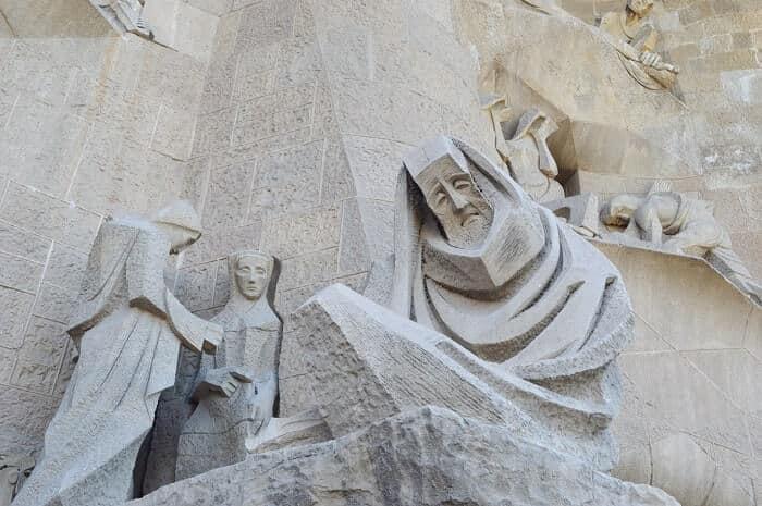 Exterior of Sagrada Familia in Barcelona