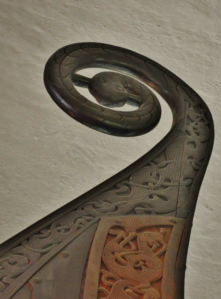Carved Snake on Viking Ship Mast