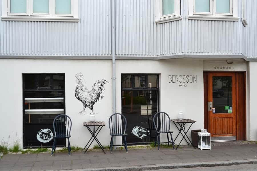Exterior of Bergsson Mathus, Reykjavik Iceland