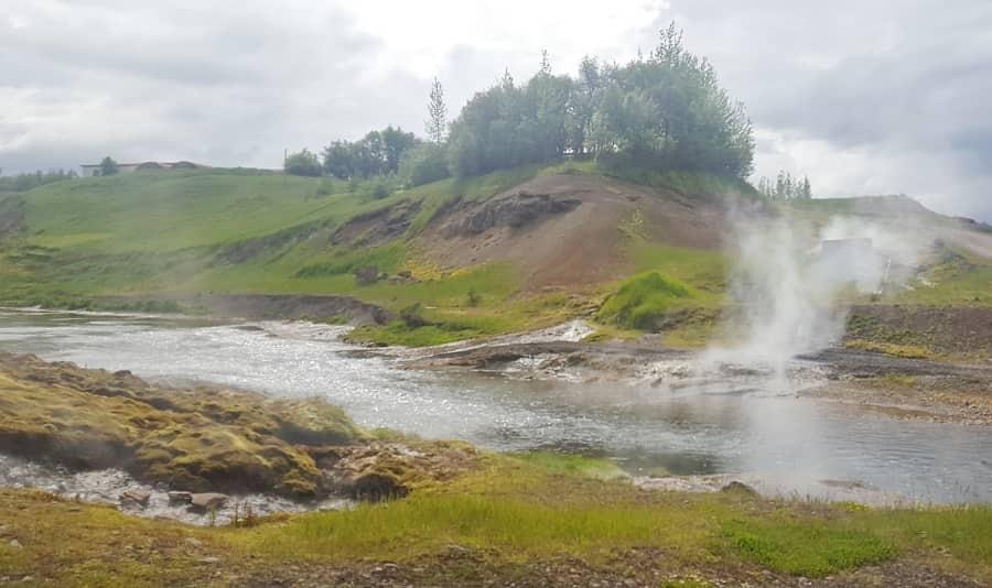 Landscape around the Secret Lagoon in Iceland