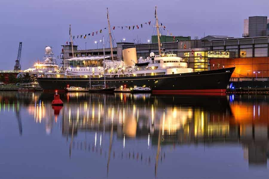 Royal Yacht Britannia at Twilight