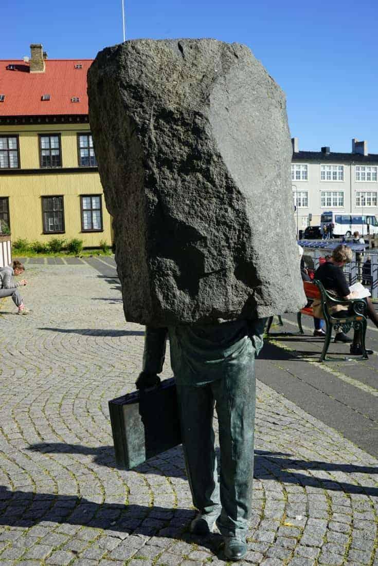 unknown Bureaucrat statue in Reykjavik