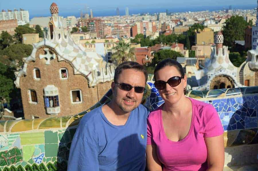 Sitting on the bench at Park Guell