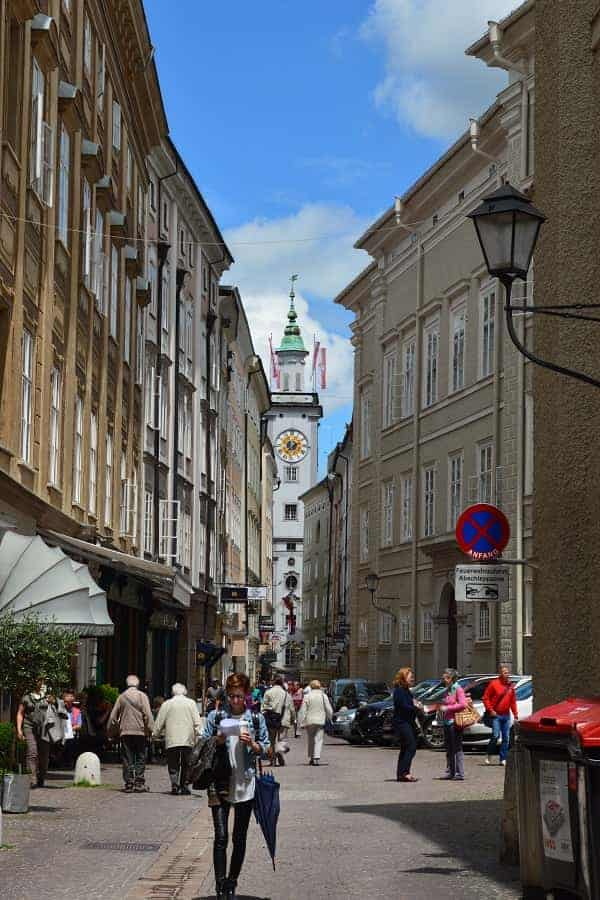 Salzburg Streets with View of Clock Tower
