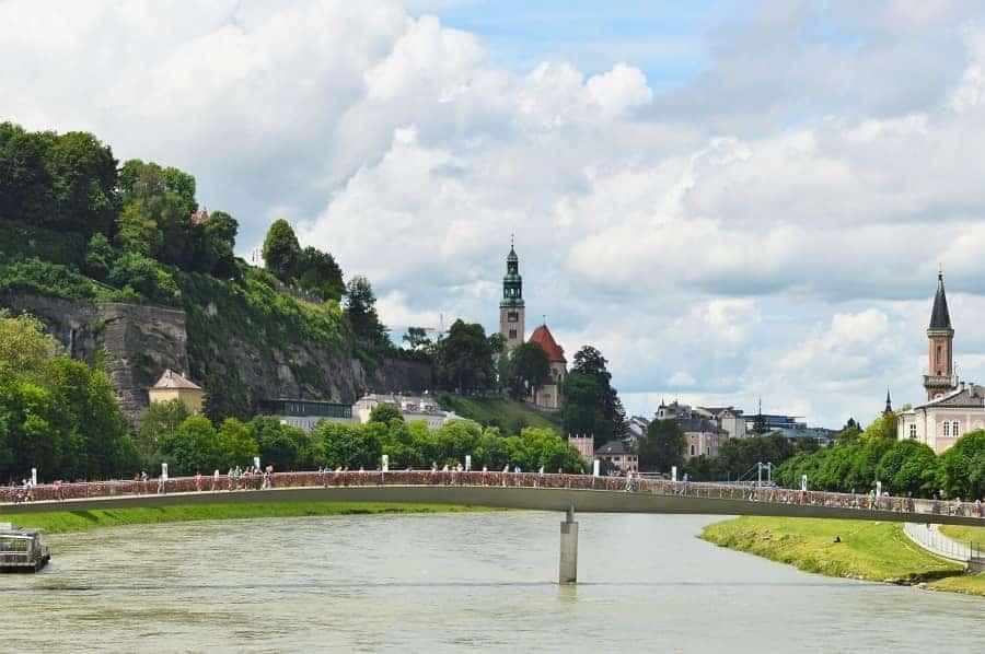 Bridge over river in Salzburg