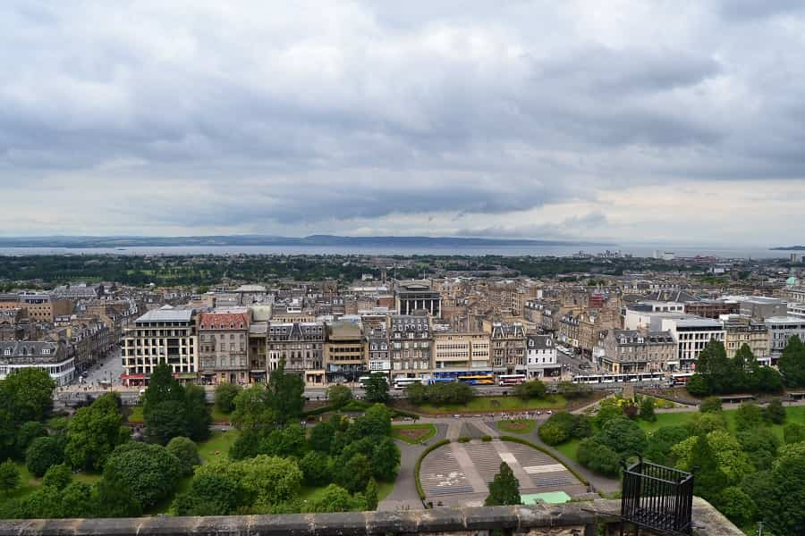 City view of Edinburgh from the castle