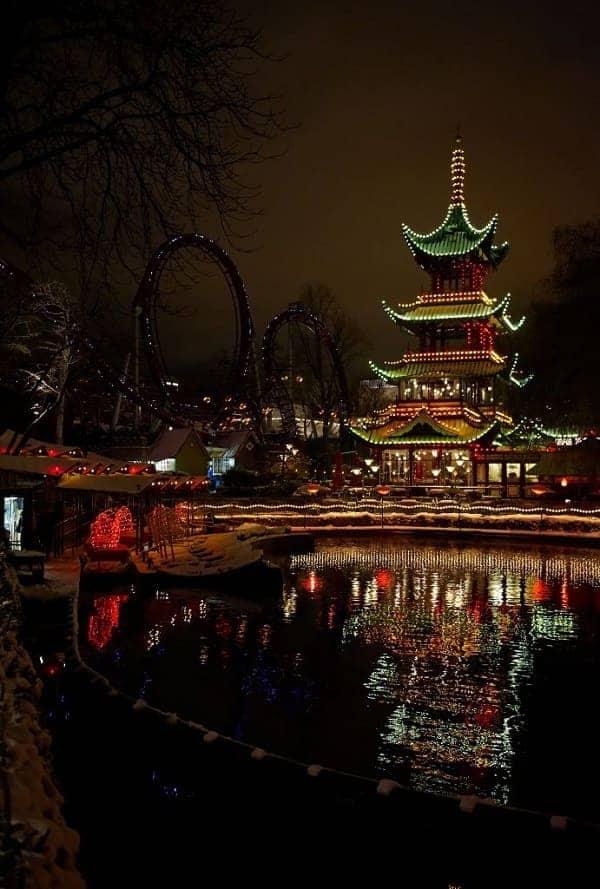 Tivoli Gardens Pagoda at Night