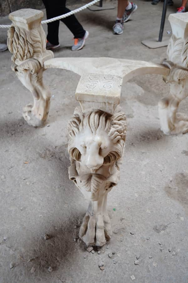 Ancient Lion Table from Pompeii