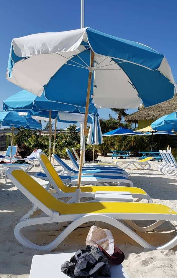 Beach Chairs with Umbrella at Coco Cay
