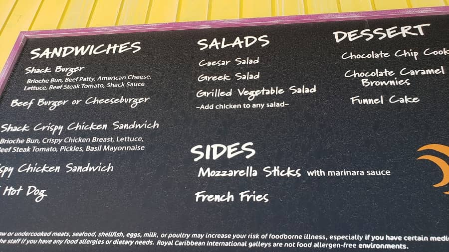 Snack Shack Menu at Coco Cay