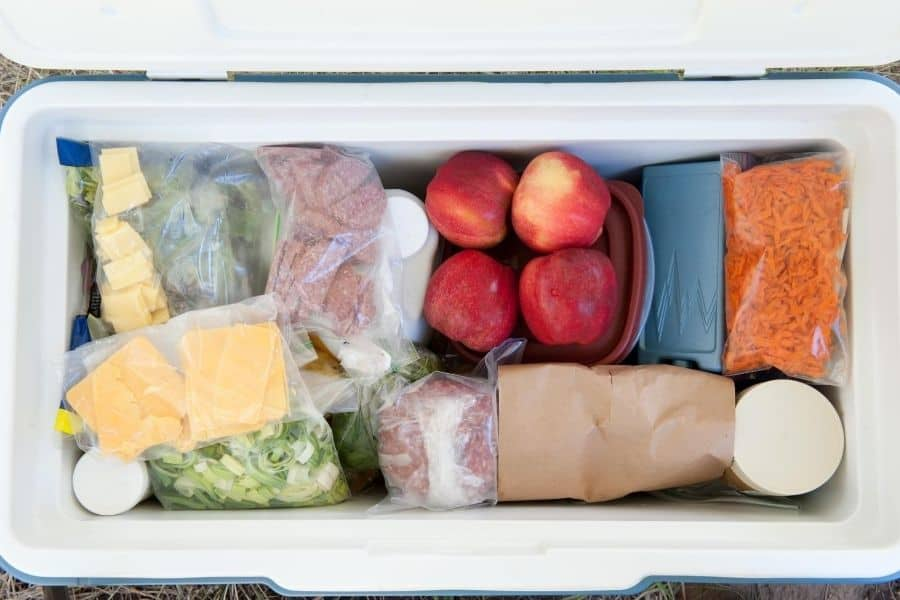 cooler of food